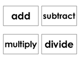 Math Operations Word-Symbol Match/Flash Cards
