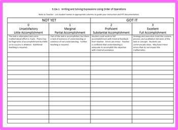 Math Operations and Algebraic Thinking, Grade 5, Part 1