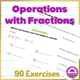Distance learning Math Operations with fractions worksheet