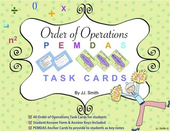 Math Order of Operation Task Cards (PEMDAS rules!)