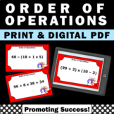 Order of Operations Task Cards 5th Grade Math Review Centers Digital Activities