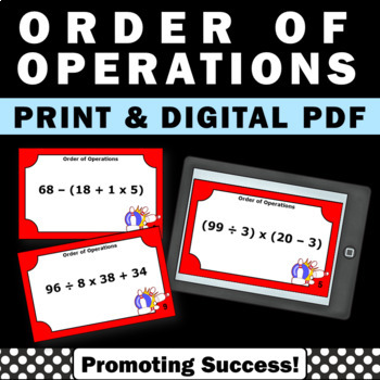 Order of Operations Task Cards 5th 6th Grade Math Centers