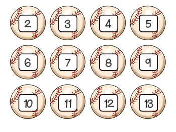 Math Ordering Numbers Game- Baseball Theme