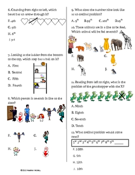 Math : Ordinal Numbers: Positions 1st through 10th Test & Guide