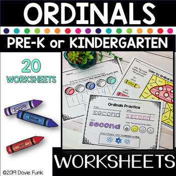 Math Ordinals Printable Worksheets for PreK and Kindergarten