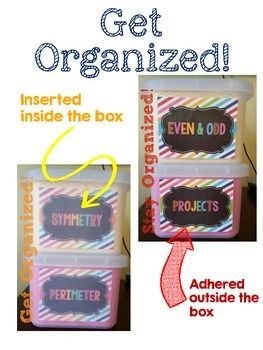 Math Organizational Labels - Bright
