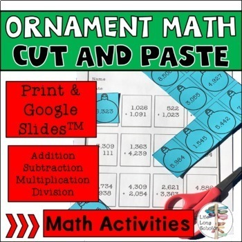 Math Ornament Cut and Paste Activities - No Prep x, ÷, -, and + covered