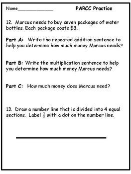 Math PARRC Practice for third grade