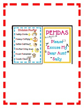 Math POSTER PACK - Mean, Mode, Add, Subtract, PEMDAS, Division