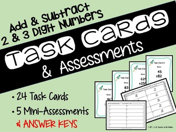 Math Task Cards & Assessments for Addition and Subtraction
