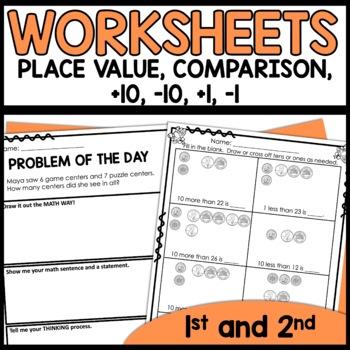 Math Worksheets 1st Grade [Place Value, plus 1, minus 1 ...