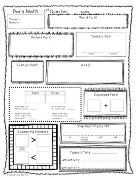 Math Planning Pack for 1st Quarter (2nd Grade - Common Core)