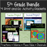 Fractions, Place Value, Volume, Decimal Numbers 5th Grade Math Packet Bundle