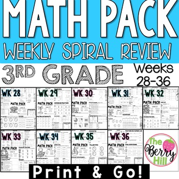 3rd Grade Math Center or Morning Work - Weekly Spiral Review - Wks 28-36