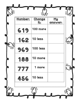 Math Pactice Sheets - 1 more/1 less, 10 more/10 less, 100 more/100 less