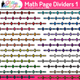 Math Page Dividers Clip Art {Rainbow Glitter Borders for W