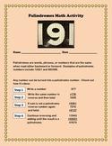 Math Palindromes Activity