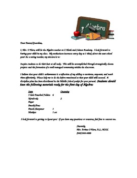Math Parent Letter Template for the First Day of School / New School Year