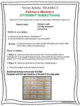 Math Partner Game - Finding Patterns 4.OA.3.5
