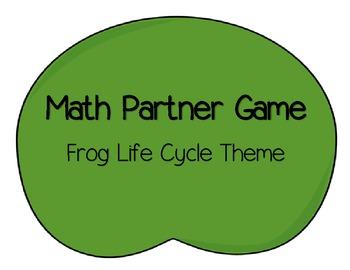 Math Partner Game: Frog Life Cycle Theme