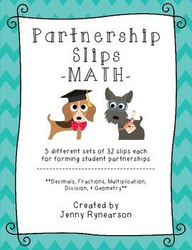 Math Partnership Slips! Practice Math and Build Classroom