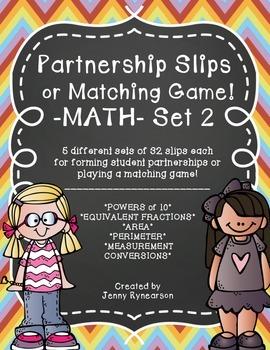 Math Partnership Slips / Matching Game! Practice Math & Build Community!