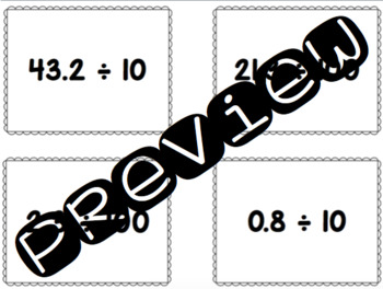 Math Passwords - Decimal Place Value (Dividing by Multiples of 10)