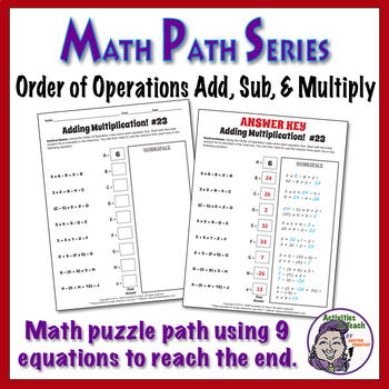 Math Path - Order of Operations - Adding, Subtracting & Multiplying