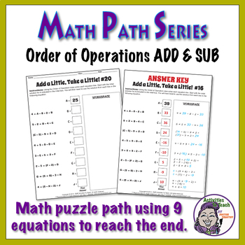 Math Path - Order of Operations - Addition & Subtraction