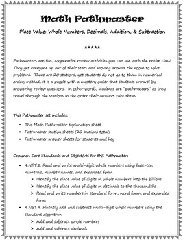 Math Pathmaster - Place Value (Whole Numbers, Decimals, Ad