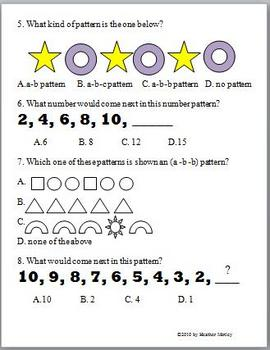 Math: Pattern Assessment and Study Guide