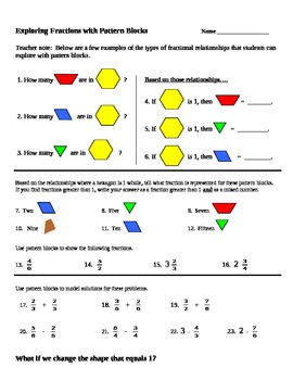 math worksheet : math pattern block fraction part of whole common core ccss gr 3 4  : Pattern Block Fractions Worksheet