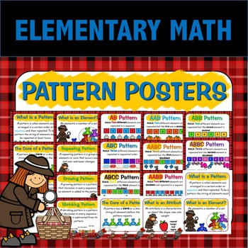 Math Pattern Posters for Elementary Math Class