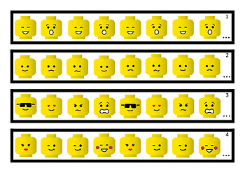 Math Pattern Strips   (Lego heads)