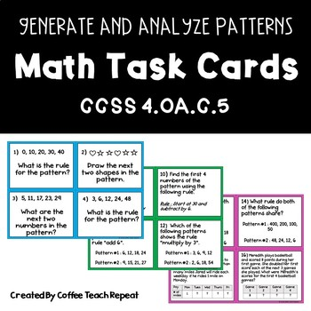 Math Pattern Task Cards CCSS 4.OA.C.5