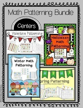 Math Patterning Activities for Halloween Christmas Winter Valentines Spring