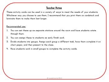 Math Patterns Activity Cards