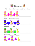 Math Patterns Spring Easter Shapes Numbers Alphabet Write Draw Next Pattern 1pg