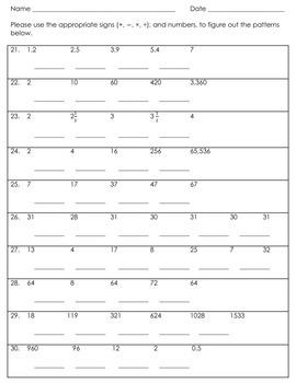 Math Patterns for 3-5 Grade Bundles 1 & 2