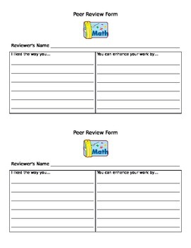 Math Peer Review Form