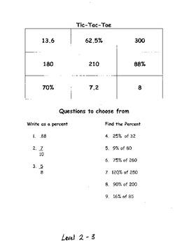 Tic Tac Toe Game:  Percentages