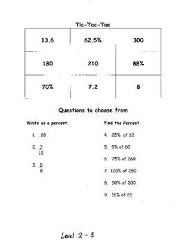 Tic Tac Toe Game:  Percentages