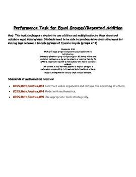 Math Performance Task {{Equal Groups}}
