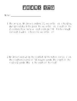 Math Performance Task- Field Day