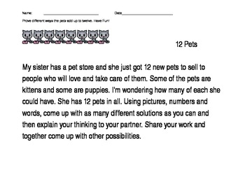 Math Performance Task: Pet Shop