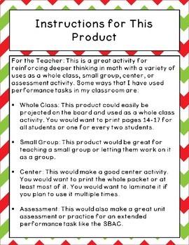 Math Performance Task - Christmas Theme SBAC