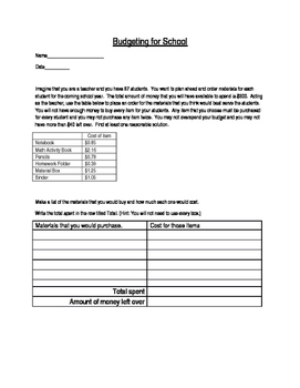 Math Performance Task with Decimals
