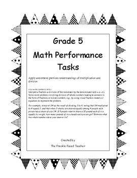 Math Performance Tasks {5.NF.B.3} SIMPLE DESIGN