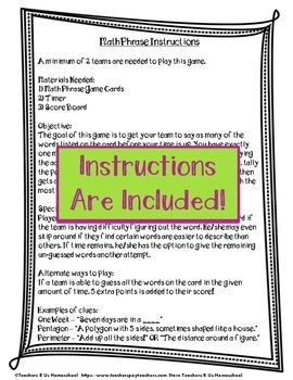 Math Phrase: 3rd Grade Math Vocabulary Game {EDITABLE}