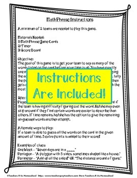 Math Phrase: 4th Grade Math Vocabulary Game {EDITABLE}